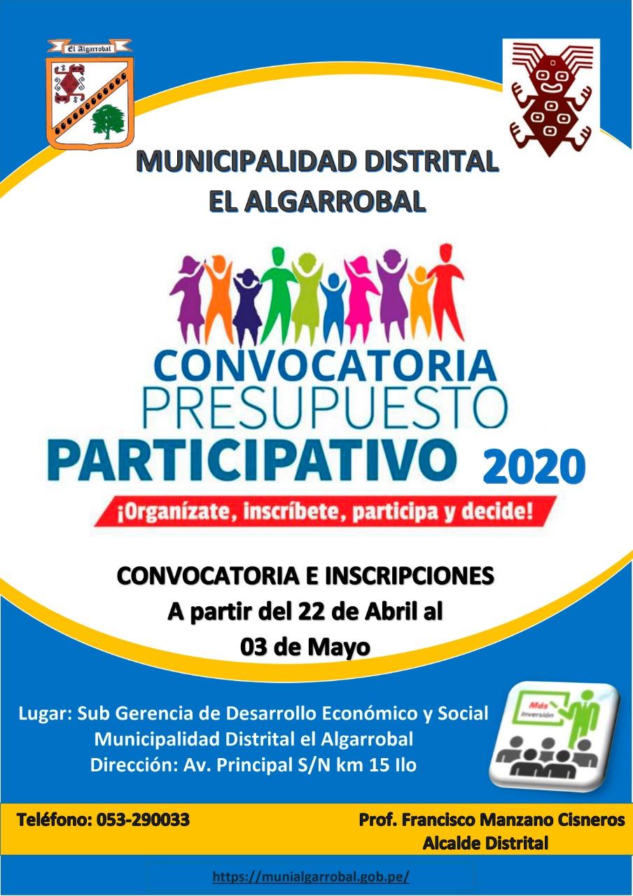 INICIA CONVOCATORIA PRESUPUESTO PARTICIPATIVO 2020