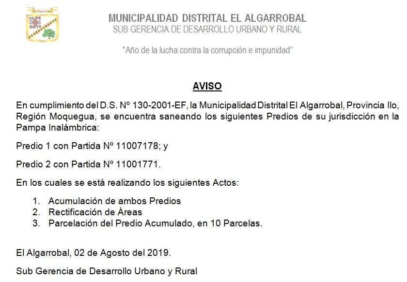 AVISO – PREDIOS SANEADOS -SGDUR/MDEA
