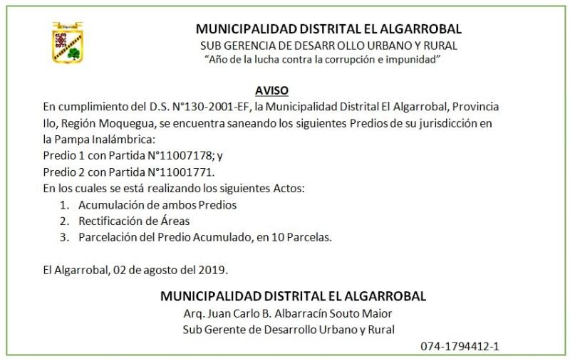 SANEAMIENTO FISICO LEGAL DE PREDIO