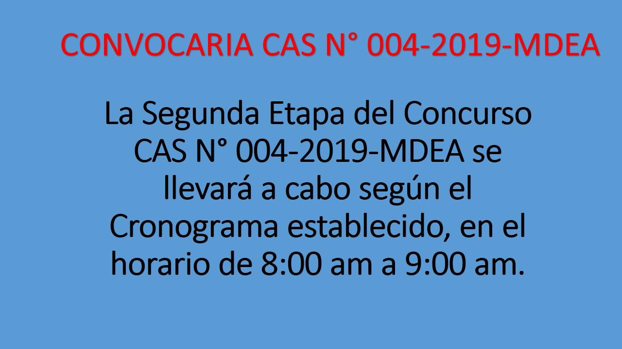 CONVOCATORIA CAS N° 004-2019-MDEA